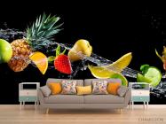 Фотообои фрукты и вода на черном фоне - 1