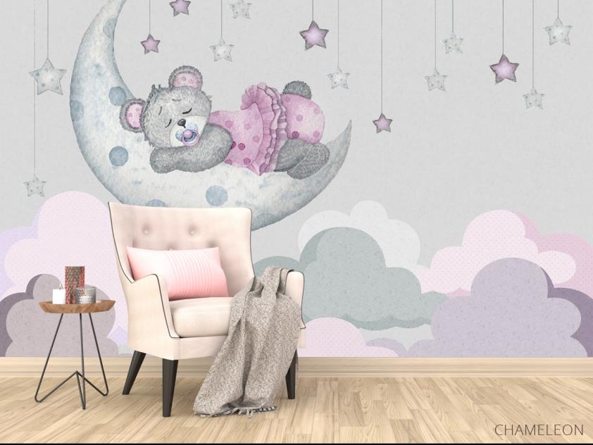 Фотообои Розовый мишка для детской - 4