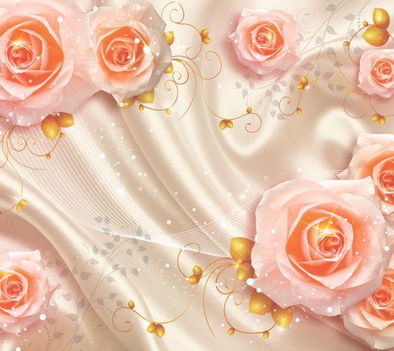 Фотообои Розы на атласе 3д 16996