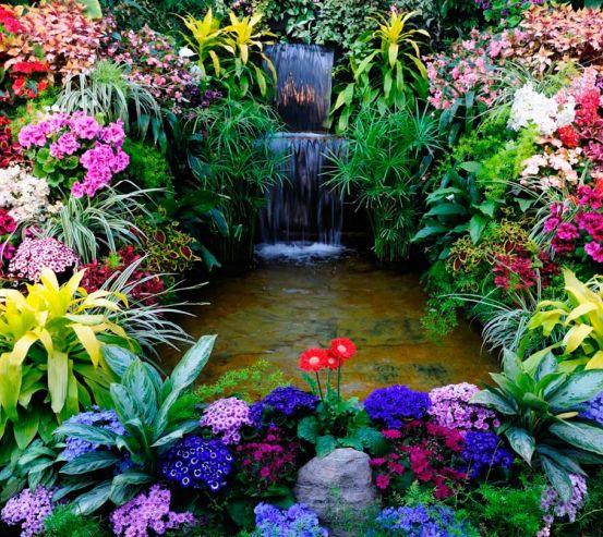 Фотообои Водопад, цветы 1519