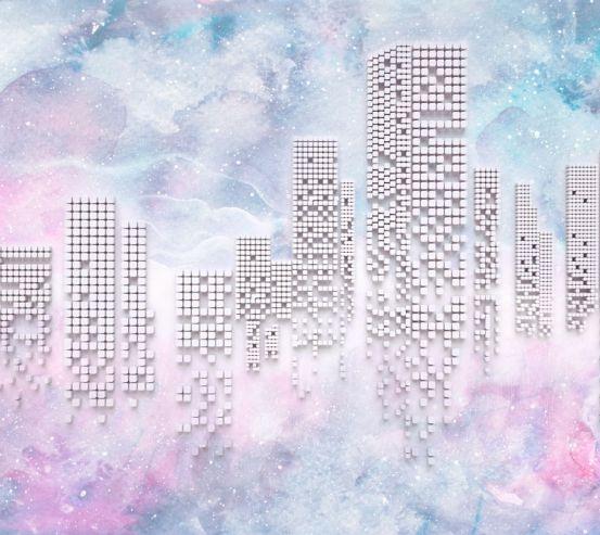 Фотообои Высотки на розовом фоне 20206