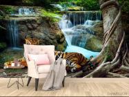 Фотообои тигр у водопада - 4