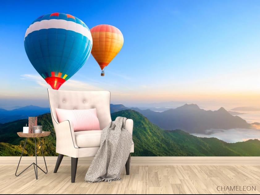 Фотообои воздушные шары над горами - 4