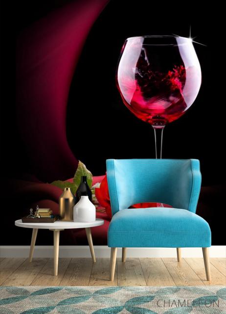 Фотообои красное вино и роза - 4