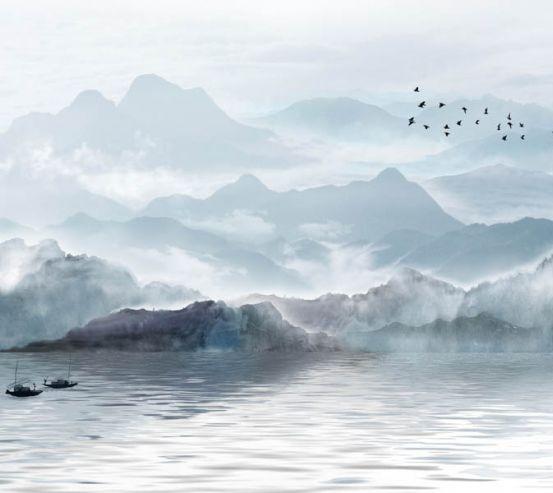 Фотообои Каскадные горы в тумане 29096