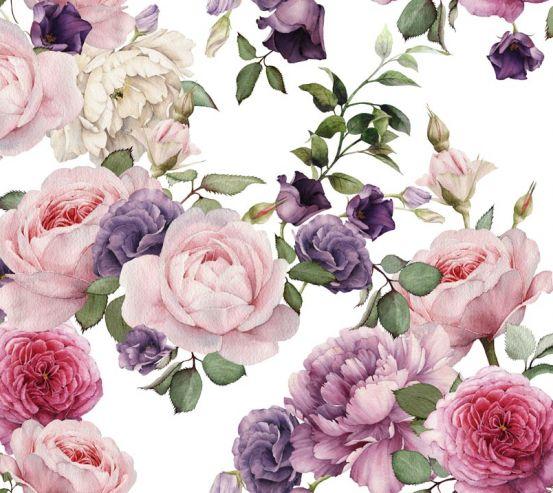 Фотообои розовые и фиолетовые пионы рисунок 20950