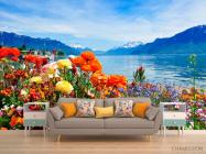 Фотообои Море цветов, горы - 1
