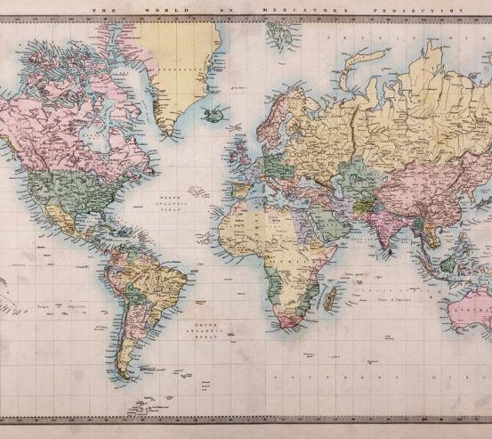 Фотообои Карта мира с маштабом 20607