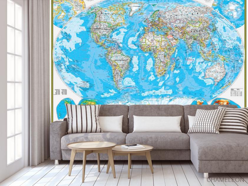 Фотообои Голубая карта мира - 3