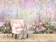 Фотообои Лес и фламинго - 4