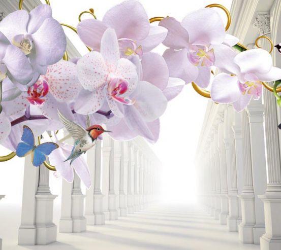 Фотообои 3d орхидея и корридор 19273