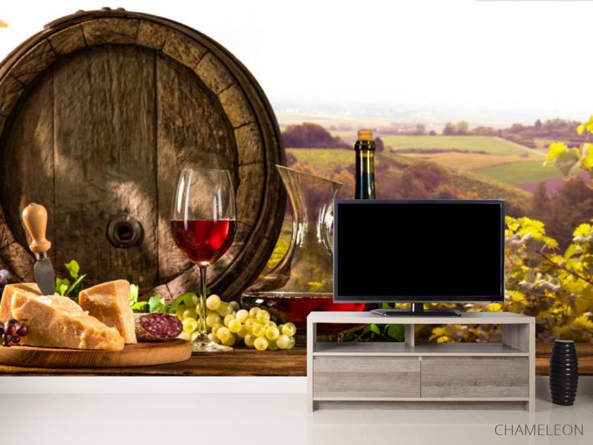 Фотообои бочка, сыр и вино - 2