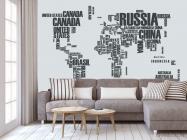 Фотообои Карта материков надписями - 3
