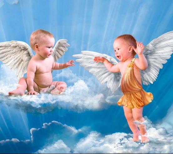 Фотообои Ангелочки на облаках 8719