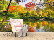 Фотообои осенний лес над озером - 4