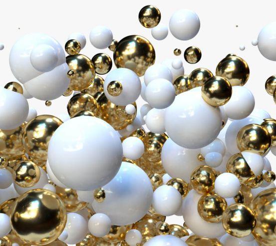 Фотообои Бело-золотые 3д шары 24599