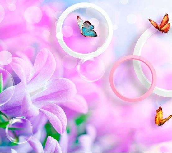 Фотообои Сирень и бабочки 20092