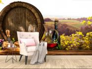 Фотообои бочка, сыр и вино - 4