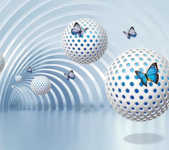 Фотообои Сферы с бабочками 22162