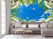 Фотообои Голуби в весеннем небе - 3