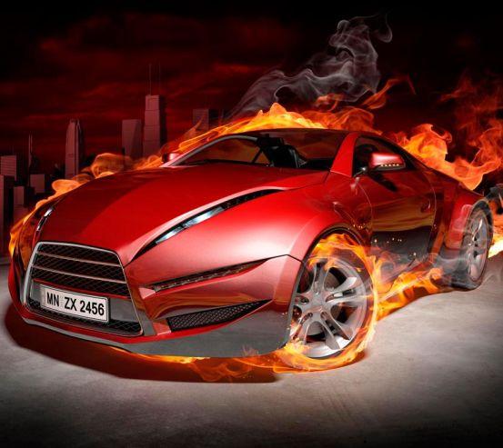 Фотообои Огненный автомобиль 10516