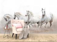 Фотообои четыре белые лошади - 4