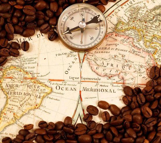 Фотообои Карта, компас, кофе 8738