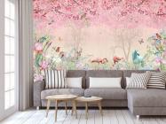 Фотообои Розовые фламинго в райском саду - 3