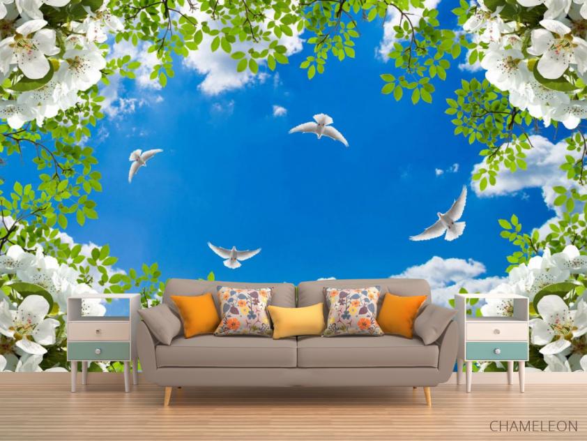 Фотообои Голуби в весеннем небе - 1