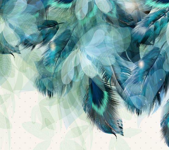 Фотообои Синие перья 22206