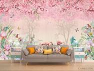 Фотообои Розовые фламинго в райском саду - 1