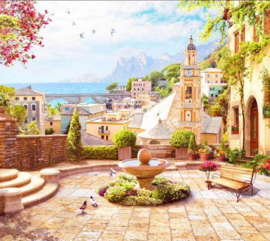 Фотообои Фреска старый город 28152