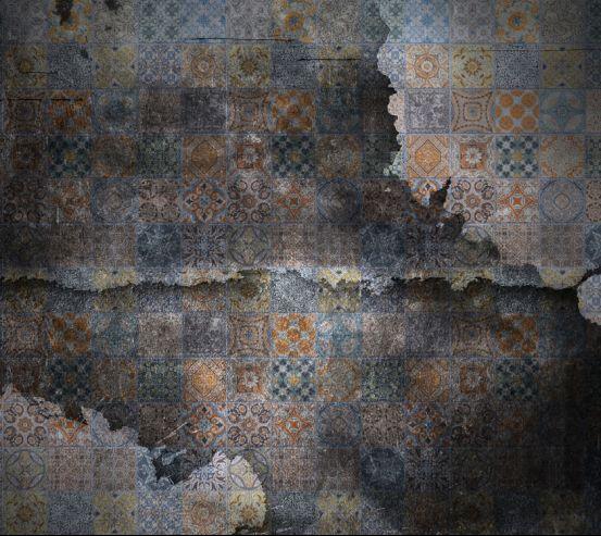 Фотошпалери Мотиви печворк на тлі чорного цегли 20265