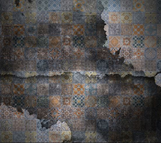 Фотообои Мотивы печворк на фоне черного кирпича 20265