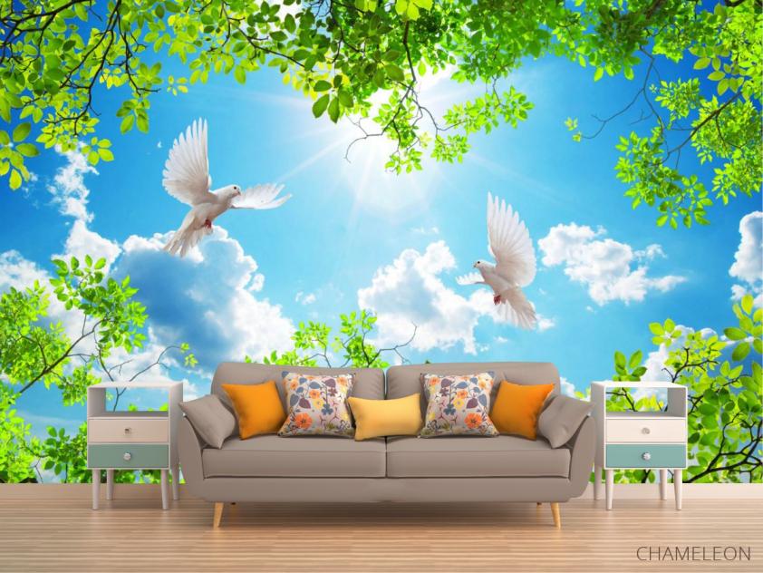 Фотообои Ветки и голуби для потолка - 1