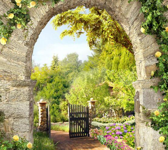 Фотошпалери жовті троянди на кам'яної арки 21459